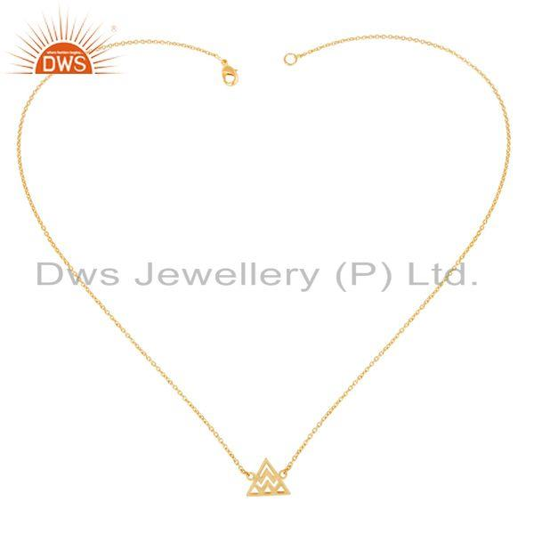 Exporter 14K Gold Plated 925 Sterling Silver Handmade Art Trillion Style Chain Necklace
