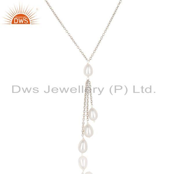 Suppliers Handmade 925 Sterilng Silver Plain Beads Pearl Drops Chain Necklace Jewelry
