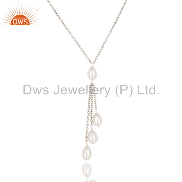 Exporter Handmade 925 Sterilng Silver Plain Beads Pearl Drops Chain Necklace Jewelry