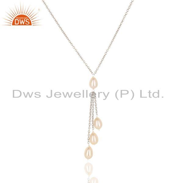 Suppliers Handmade 925 Sterilng Silver Plain Beads Pink Pearl Drops Chain Necklace Jewelry