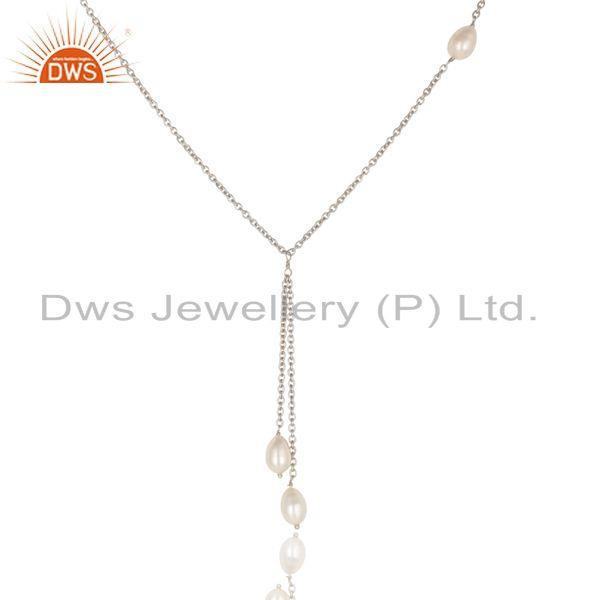 Suppliers Handmade 925 Sterling Silver Pearl Beads 16 Inch Drops Chain Necklace