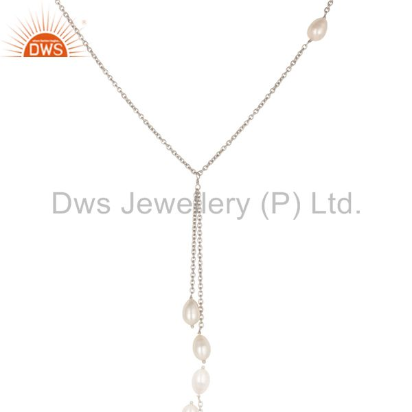Exporter Handmade 925 Sterling Silver Pearl Beads 16 Inch Drops Chain Necklace