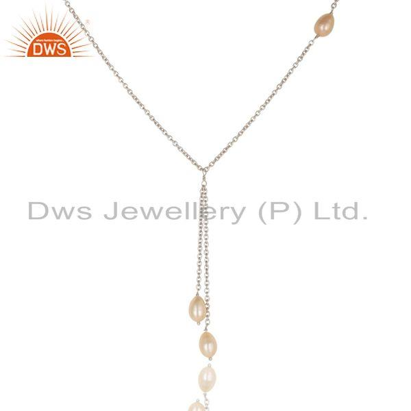 Suppliers Handmade 925 Sterling Silver Pink Pearl Beads 16 Inch Drops Chain Necklace