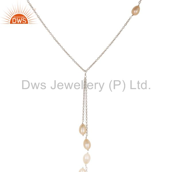 Exporter Handmade 925 Sterling Silver Pink Pearl Beads 16 Inch Drops Chain Necklace