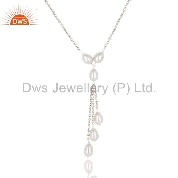 Exporter 16 Inch Beautiful Pearl Beads Drops Chain Necklace Made In 925 Sterling Silver