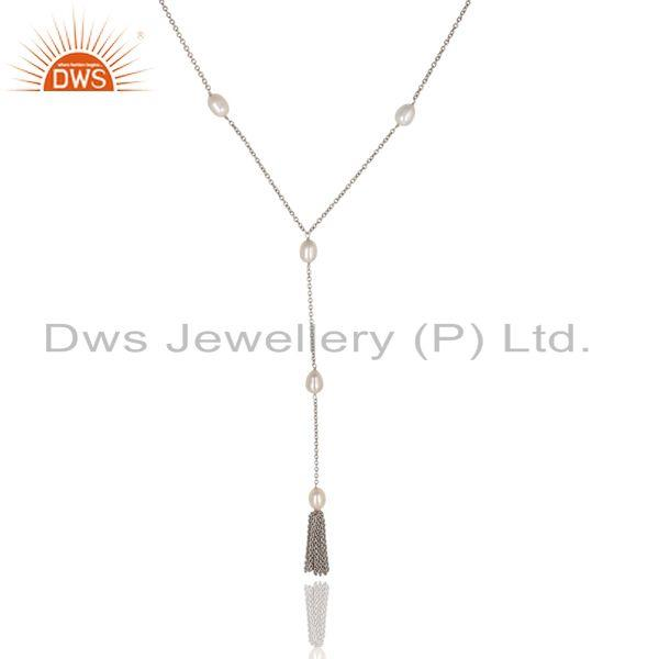 Suppliers Beautiful Handmade 16 Inch Pearl Drop Chain Necklace Made In 925 Sterling Silver