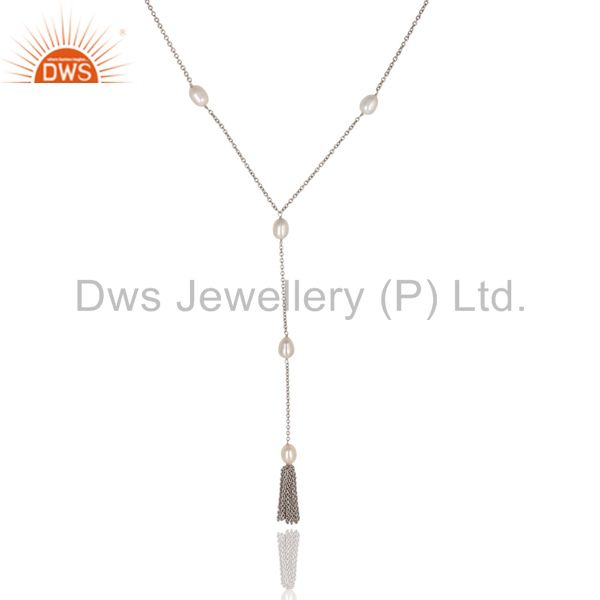Exporter Beautiful Handmade 16 Inch Pearl Drop Chain Necklace Made In 925 Sterling Silver
