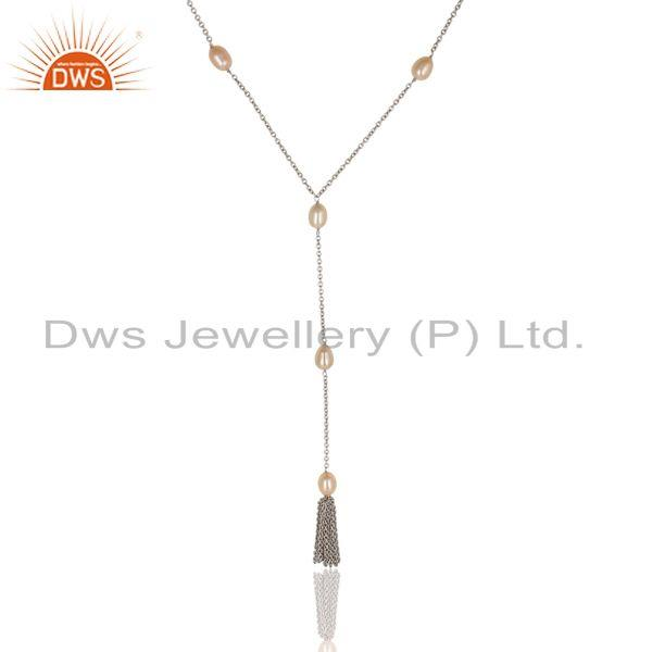 Suppliers Beautiful Handmade 16 Inch Pink Pearl Chain Necklace Made In 925 Sterling Silver