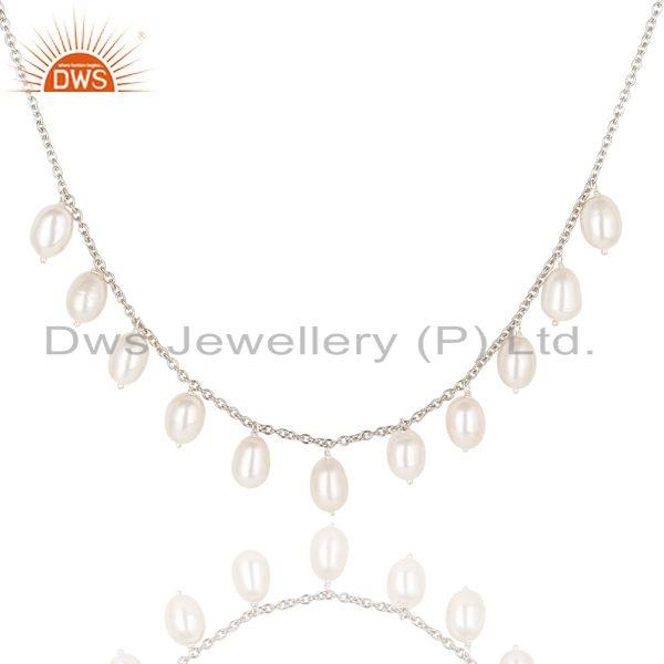 Suppliers Beautiful 925 Sterling Silver Handmade Plain Beads Pearl Chain Necklace Jewelry
