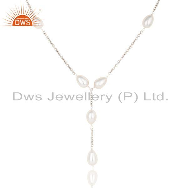 Suppliers Beautiful Handmade 925 Sterling Silver Pearl Beads 16 Inch Drops Chain Necklace