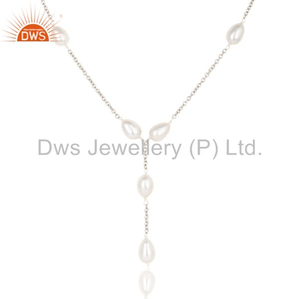 Exporter Beautiful Handmade 925 Sterling Silver Pearl Beads 16 Inch Drops Chain Necklace