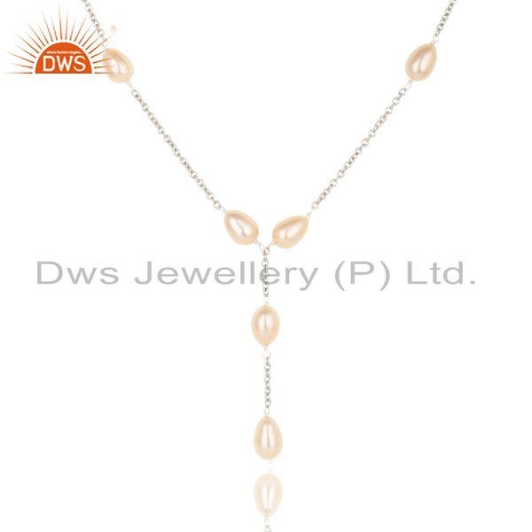 Suppliers Beautiful Handmade Sterling Silver Pink Pearl Beads 16 Inch Drops Chain Necklace
