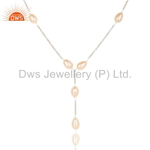Exporter Beautiful Handmade Sterling Silver Pink Pearl Beads 16 Inch Drops Chain Necklace