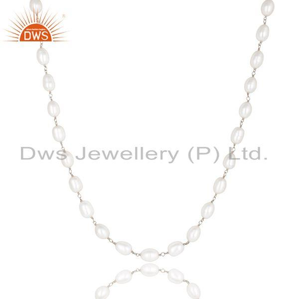 Suppliers Handmade 925 Sterling Silver Pearl Beads 16 Inch Chain Necklace Jewelry