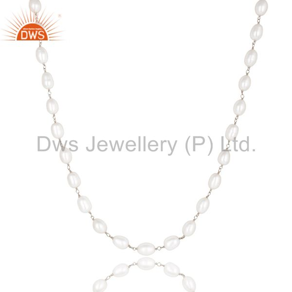 Exporter Handmade 925 Sterling Silver Pearl Beads 16 Inch Chain Necklace Jewelry