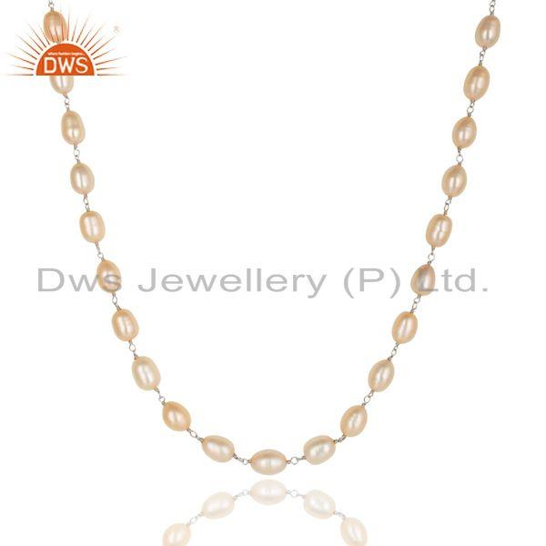 Suppliers Beautiful Handmade 925 Sterling Silver Beads Pink Pearl Chain Necklace Jewelry