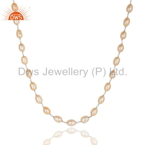 Exporter Beautiful Handmade 925 Sterling Silver Beads Pink Pearl Chain Necklace Jewelry