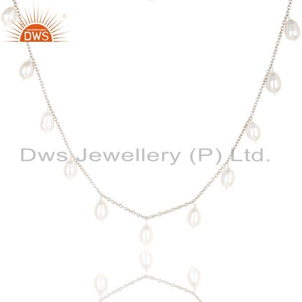 Suppliers Handmade Pearl Beads 16 Inch Chain Necklace Jewelry Made In 925 Sterling Silver