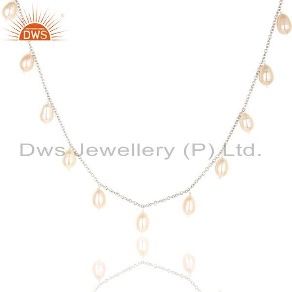 Suppliers Handmade Pink Pearl 16 Inch Chain Necklace Jewelry Made In 925 Sterling Silver