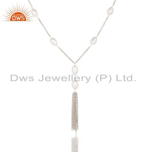 Suppliers Handmade 925 Sterling Silver Pearl Beads 16 Inch Drops Chain Necklace Jewelry