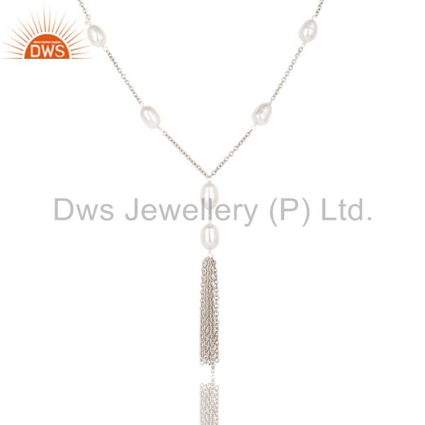 Exporter Handmade 925 Sterling Silver Pearl Beads 16 Inch Drops Chain Necklace Jewelry
