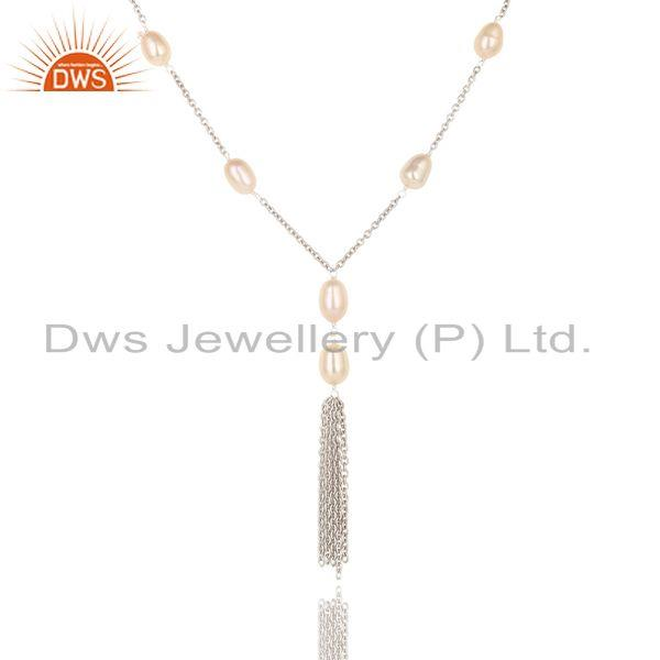 Suppliers Handmade Sterling Silver Pink Pearl Beads 16 Inch Drops Chain Necklace Jewelry