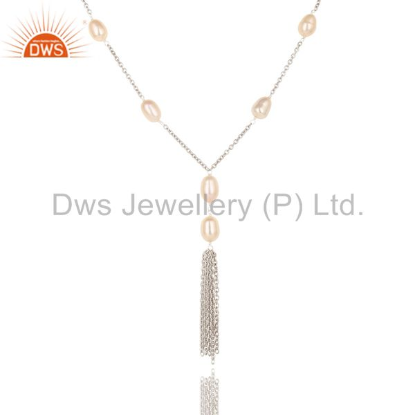 Exporter Handmade Sterling Silver Pink Pearl Beads 16 Inch Drops Chain Necklace Jewelry