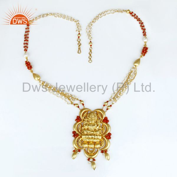 Exporter 18K Yellow Gold Plated 925 Sterling Silver Handmade Hindu God Temple Jewelry
