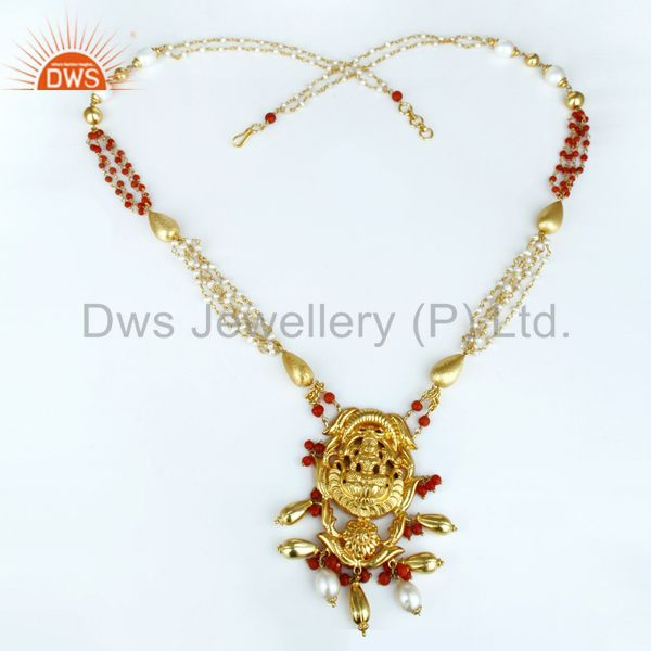 Exporter 14K Gold Plated 925 Sterling Silver Handmade 28 Inch Temple Jewelry Necklace