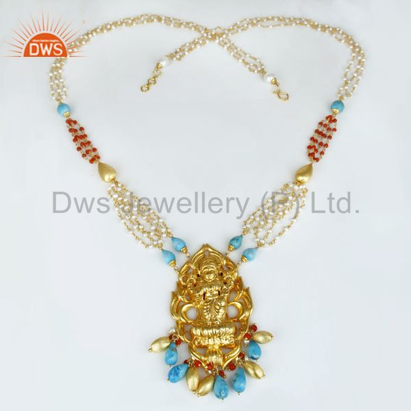 Exporter 18K Gold Plated 925 Sterling Silver Hindu Gold 32 Inch Temple Jewelry Necklace