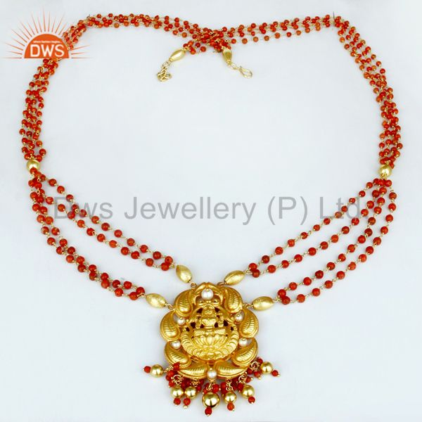 Exporter 18K Gold Plated 925 Sterling Silver Pearl Beads Temple Jewelry Necklace