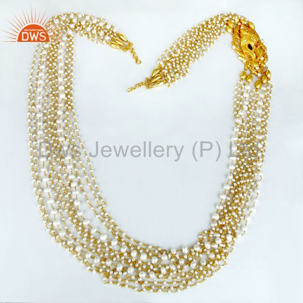 Exporter 14K Gold Plated 925 Silver Handmade Pearl Beads 35 Inch Temple Jewelry Necklace
