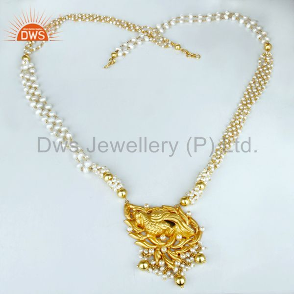 Exporter 14K Gold Plated 925 Silver Handmade Peacock Design Pearl Beads 32 Inch Necklace