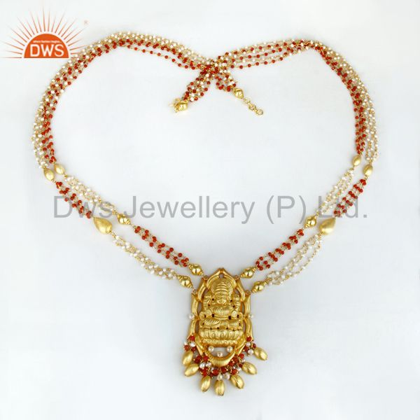 Exporter 18K Gold Plated 925 Sterling Silver Handmade Pear Bead Temple Necklace Jewelry