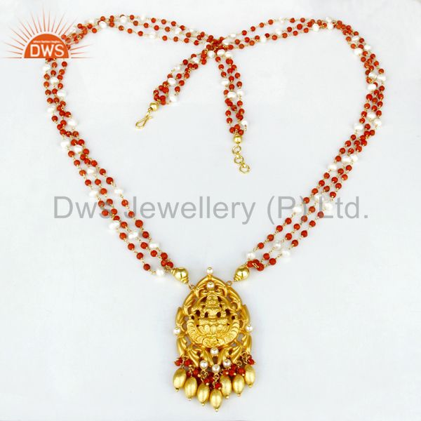Exporter 22K Gold Plated 925 Sterling Silver Handmade Pearl Bead Temple Necklace Jewely