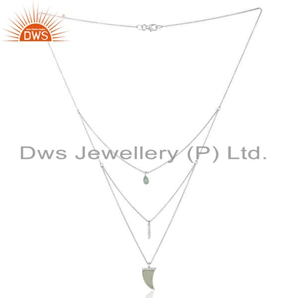Manufacturer of Aqua Chalcedony Triple Layer Unisex Cz 92.5 Sterling Silver Wholesale Pendent