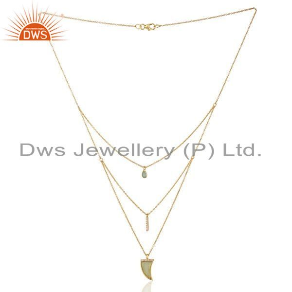 Exporter Aqua Chalcedony Triple Layer Unisex Cz Gold Plated Sterling Silver Pendent