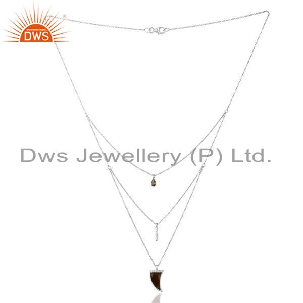 Supplier of Smoky Topaz Triple Layer Unisex Cz 92.5 Sterling Silver Wholesale Pendent