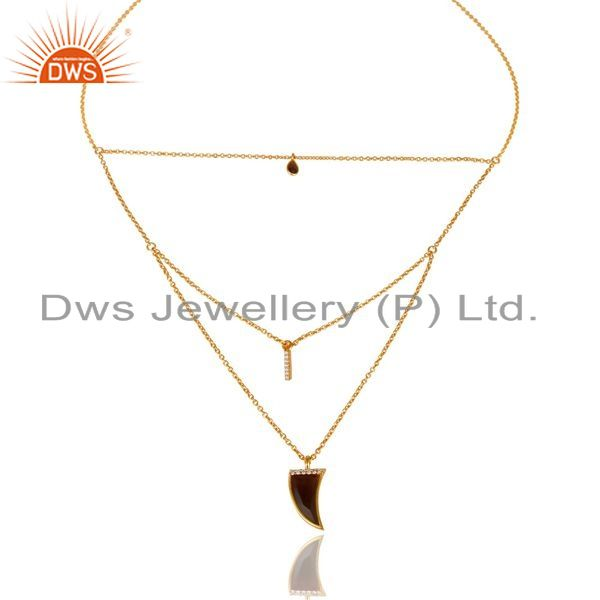 Exporter Smoky Topaz Triple Layer Unisex Cz Gold Plated Sterling Silver Pendent