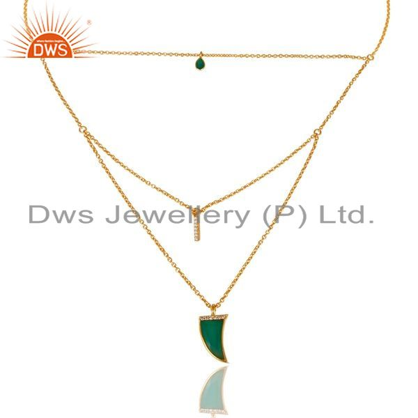 Exporter Green Onyx Triple Layer Unisex Cz Gold Plated Sterling Silver Pendent