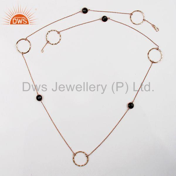 Exporter Rose Gold Plated 925 Silver Smoky Quartz Gemstone Necklace Jewelry
