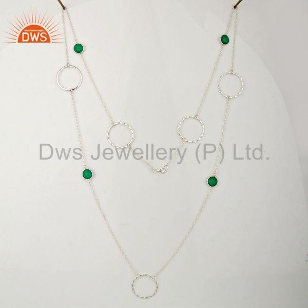 Exporter 925 Sterling Silver Green Onyx Gemstone Womens Necklace Supplier
