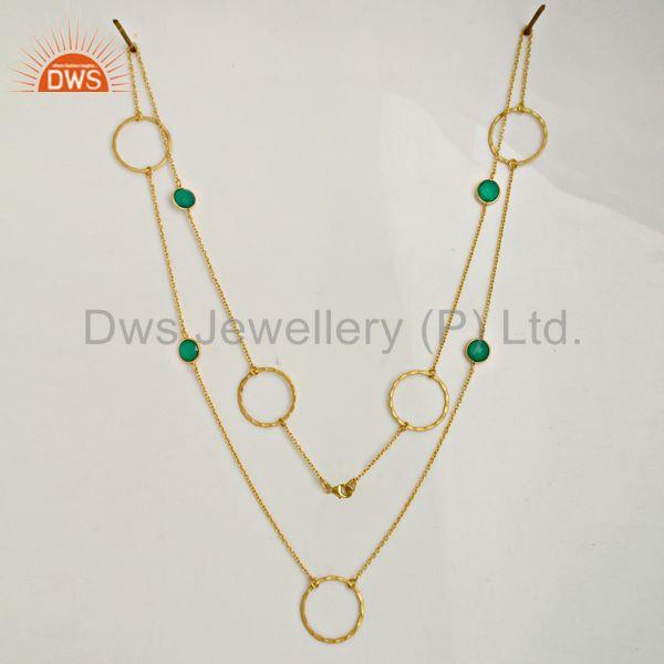 Exporter Green Onyx Gemstone Silver Gold Plated Chain Neckalce Manufacturer