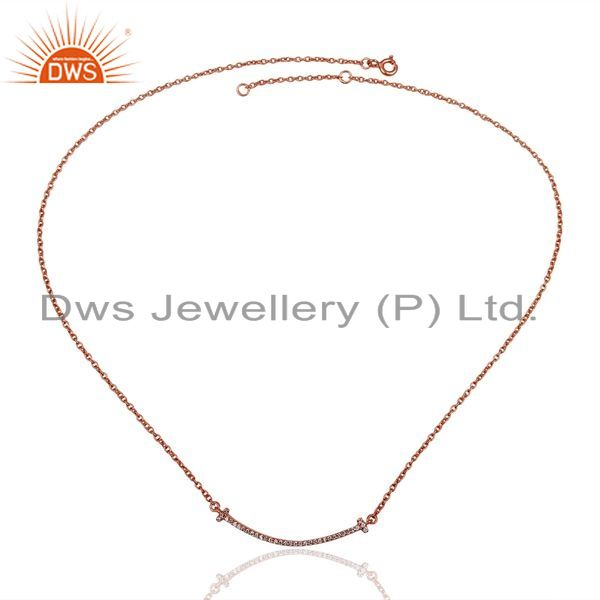 Exporter Cz Double Cross Curved Bar 925 Sterling Silver Rose Gold Plated Necklace