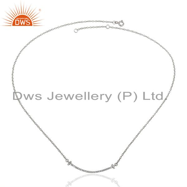 Exporter Cz Double Cross Curved Bar 925 Sterling Silver White Rhodium Plated Necklace