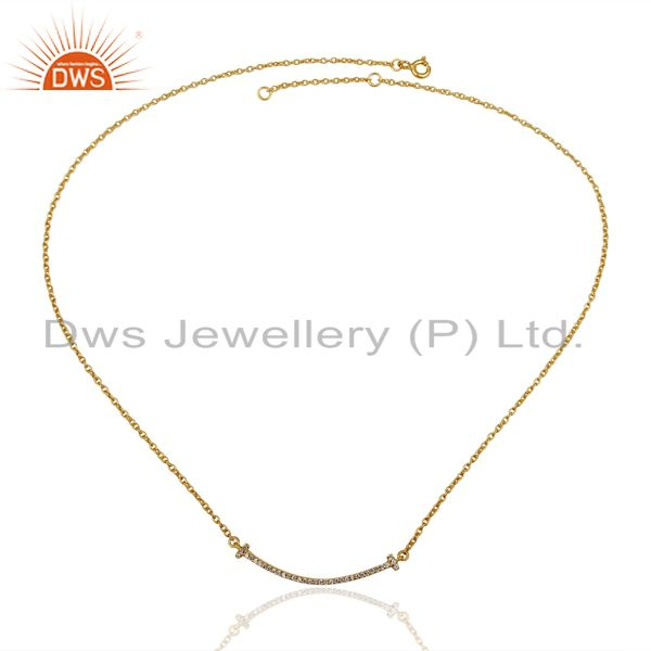 Exporter Cz Double Cross Curved Bar 925 Sterling Silver 14K Gold Plated Necklace
