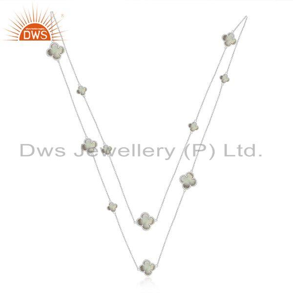 Exporter Mother Of Pearl Clover Magic Motif Sterling Silver White Rhodium Plated Necklace
