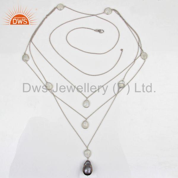 Exporter New Arrival Pearl Gemstone Sterling Silver Chain Necklace Wholesale