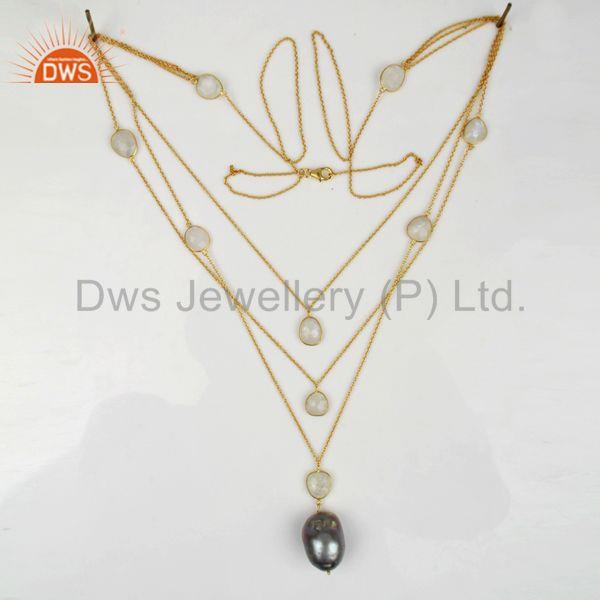 Exporter Freshwater Pearl Gemstone Gold Plated Silver Chain Necklace Supplier