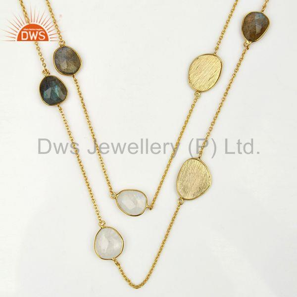 Exporter Labradorite Gemstone Gold Plated 925 Silver Fashion Necklace Jewelry